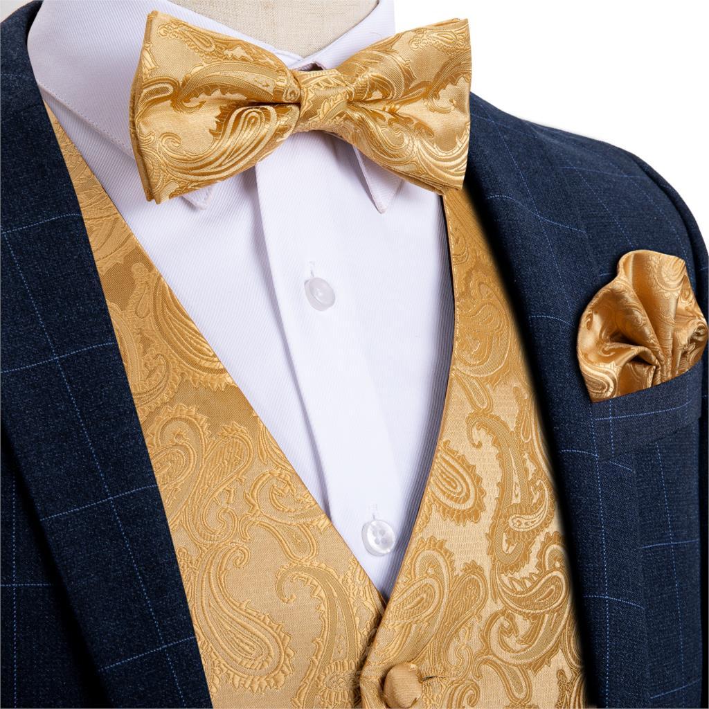 Men's Gold Paisley Fashion Wedding Men Silk Waistcoat Vest Bowties Hanky Cufflinks Cravat Set For Suit Tuxedo DiBanGu MJ-112