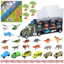 36 шт./1 Набор игрушечных автомобилей, нетоксичный транспортный автомобиль, динозавр, животные, грузовик с вертолетом и растением, Карта города, подарок на день рождения для мальчиков