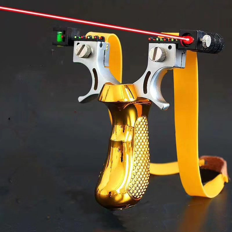 Hunting Slingshot With Laser Light Sight Level Outdoor Shooting With Flat Rubber Band  Powerful Sling Shot