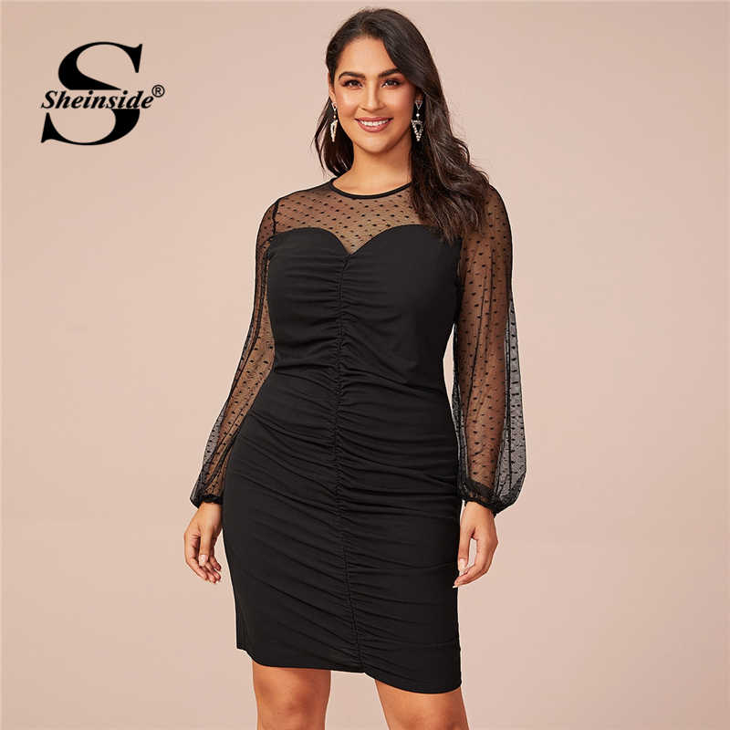 Sheinside Plus Size Elegant Sheer Mesh Patchwork Dress Women 2020 Spring Ruched Detail Pencil Dresses Ladies Party Dress