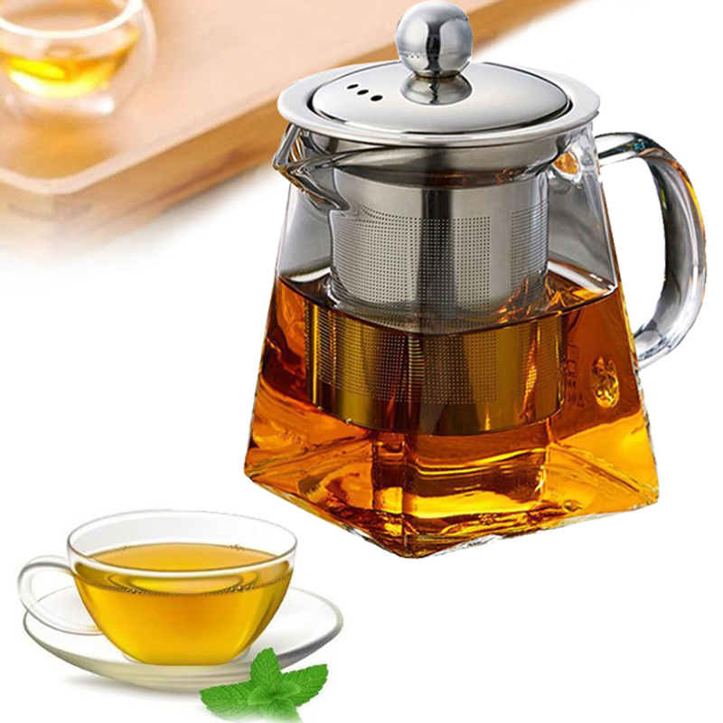 Heat Resistant Glass Teapot With Stainless Steel Infuser Heated Container Tea Pot Good Clear Kettle Square Filter Baskets 1