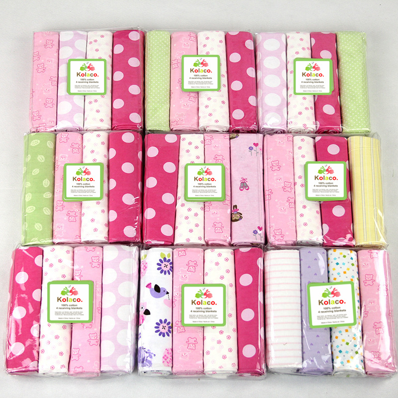 4Pcs/lot 100% Cotton 2020 Supersoft Flannel Receiving Cobertor Bedsheet Baby Blanket Newborn Swaddle 102CM*76CM Bedding Linens