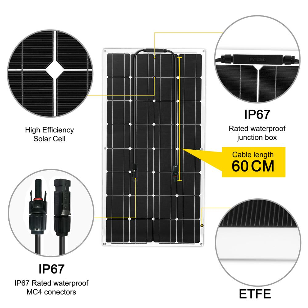 Image 3 - Dokio 12V 100W 1/2/3/4/6/8/10PCS Monocrystalline Flexible Solar Panel 300W Panel Solar For Car/Boat/Home/RV 32Cells 200W 1000W-in Solar Cells from Consumer Electronics