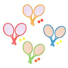1 Pair Tennis Rackets with and 2 Balls Beach Indoor Sports Activity Toys Racket Ball Kids Beginner Education Learning