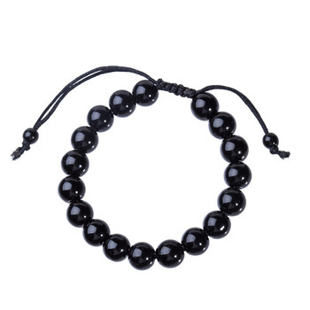 10mm Round Black Obsidian Stone Bracelet Healthcare Bracelet Weight Loss Bracelet image