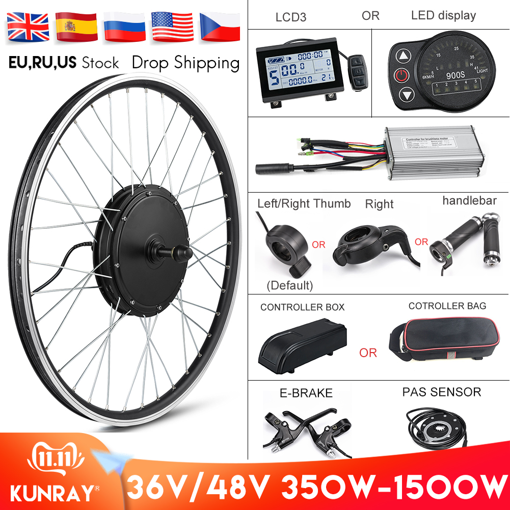 Electric Bike Conversion Kit 1500W Motor Wheel 48V 500W 1000W Ebike Kit Front/Rear Hub Motor 350W 36V E Bike Motor 26 Inch LCD3
