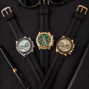 Image 5 - 샴페인 로즈 골드 남성 시계 스톱워치 실리콘 고무 스트랩 크로노 그래프 쿼츠 시계 럭셔리 시계 Relogio Masculino 선물