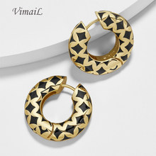 Hoop Shape Gold Earrings Women Fashion Designer Brand Round Earings Jewelery Ladies Charms Ear Jewellery(China)