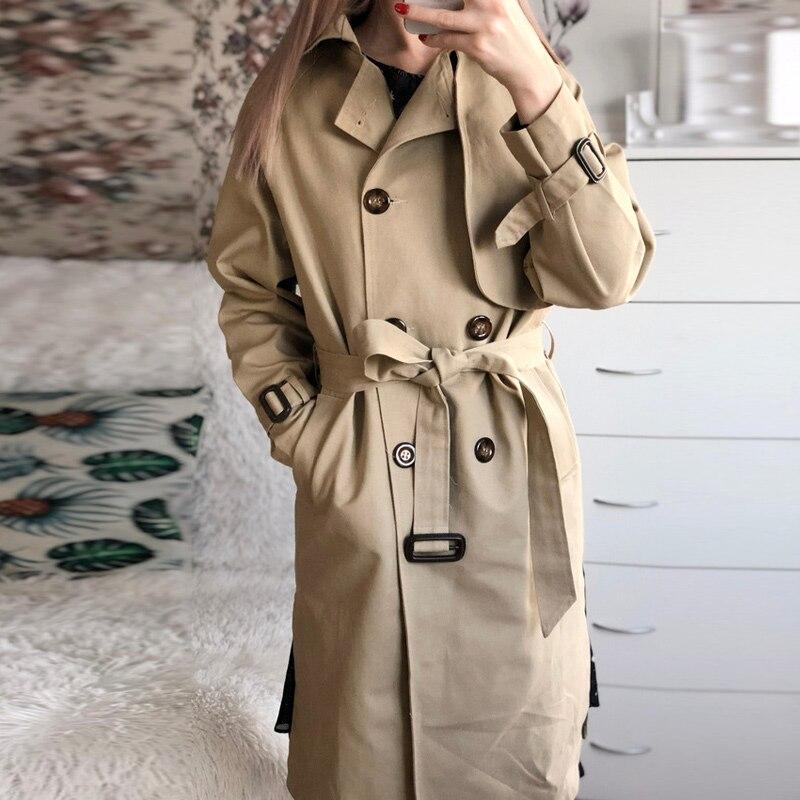 Spring New Korean Double Button Shoulder Sleeve Medium Length Knee Split Wind Female Windbreaker Women   Trench   Coat