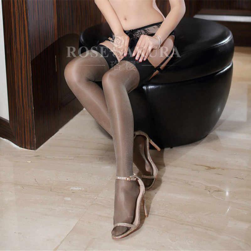 Meias femininas brilhantes, óleo brilhante, multicoloridas, sexy, para senhoras, lolita, glitter, pernas, top opaque 0908
