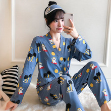 2019 Autumn Pink Panther Women Pajamas Sets With Pants 100%