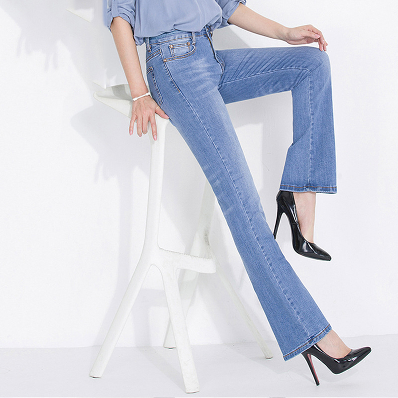 KSTUN FERZIGE Jeans Women High Waist Stretch Boot Cut Light Blue Bells Flared Pants Mom Jeans Women Elegant Push Up Sexy Push Up Jean 11