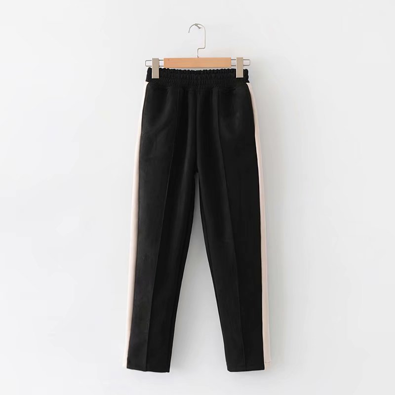 Autumn New Style Europe And America WOMEN'S Dress Fashion Thick Chamois Fabric Joint Loose Pants Trousers K2088