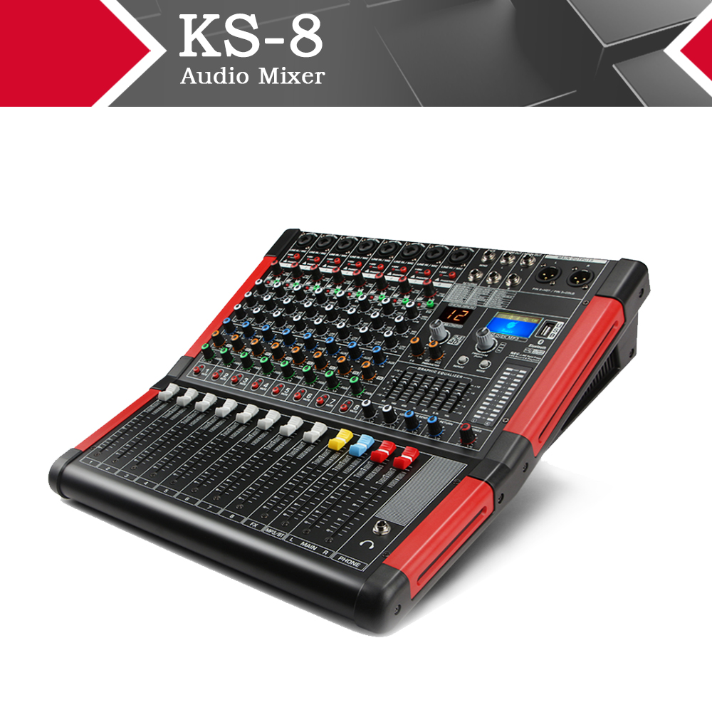 XTUGA KS-8 8 canaux Audio table de mixage carte son avec affichage numérique MP3,Bluetooth,EQ, effets pour scène Kraoke utilisation pour DJ, fête