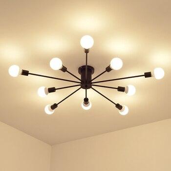 Retro Iron Ceiling Lights Black/White 6/8/10 Sockets Lighting Vintage Spiderr Ceiling Lamp Lighting Fixture for Living Room 1
