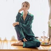 Pyjama femme, pyjama à manches longues en Satin de soie, ensemble de grande taille, 2 pièces, vêtements de maison, automne et hiver M 5XL