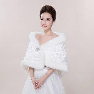 Image 3 - Bridal Shawl Jacket Wedding Wraps White Long Faux Fur Wrap Shrug Bolero Coat  Bridal Gowns PJ012