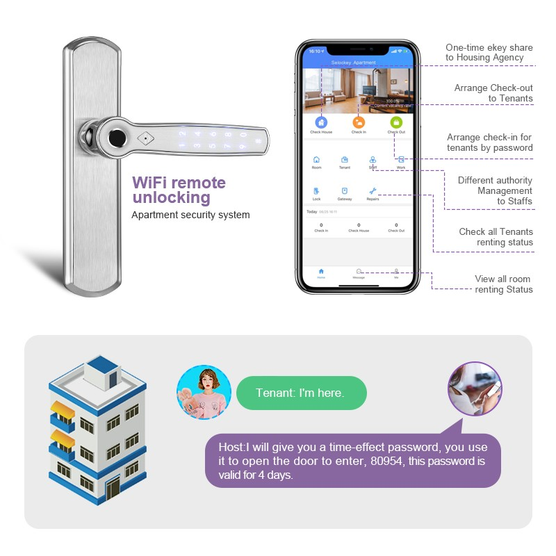 Closeout DealsWifi Intelligent Door Lock Fingerprint / Password / TT Lock APP Unlock Support Alexa / Google Assistant AI voice Command JA22