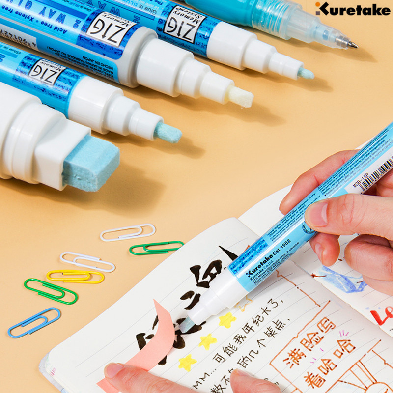 1pc Zig Kuretake Memory System 2 Way Glue Pen Japan 1mm 2mm 4mm 15mm DIY For Greeting Card Envelopes Poster Permanent Sticking