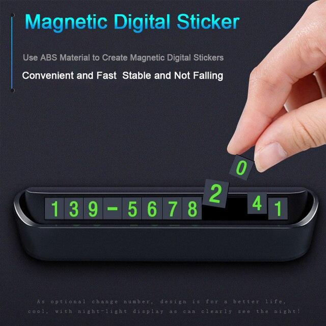 Placa de tarjetas para estacionamiento temporal de coche, placa de tarjetas de número de teléfono, número de teléfono, parada de estacionamiento, accesorios para automóviles, estilo de coche, 13x2.5cm
