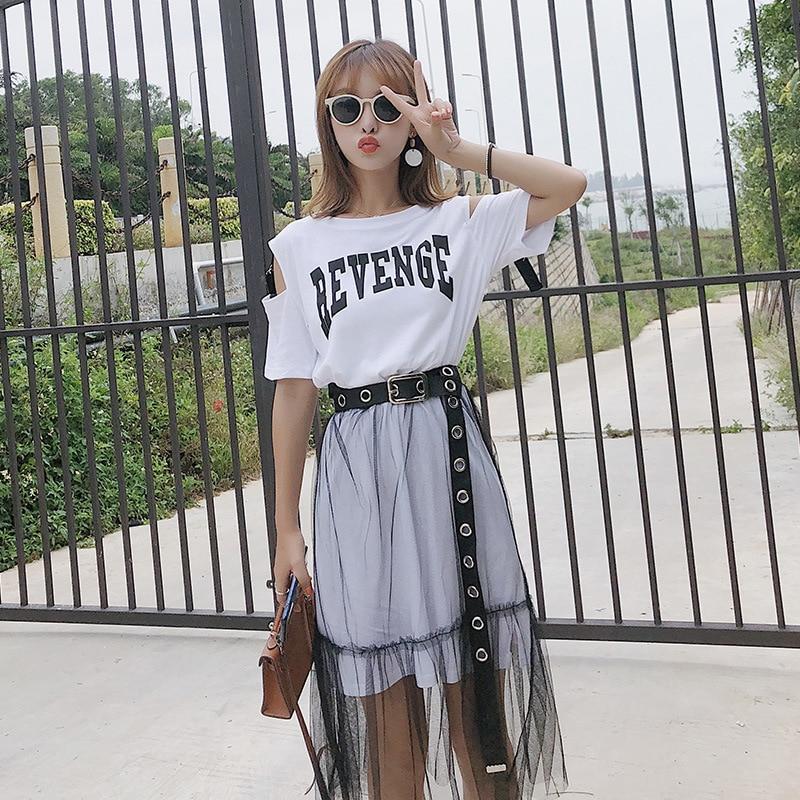 [Dowisi] WOMEN'S Suit 2018 Summer Korean-style Summer Short Sleeve T-shirt + Skirt Two-Piece Set F5012