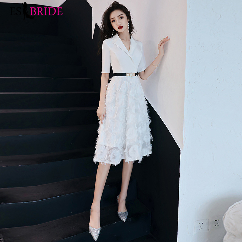 A-Line V-Neck Short Prom Dresses 2019 Sexy See Through Back Formal Party Dresses Women Prom Gown
