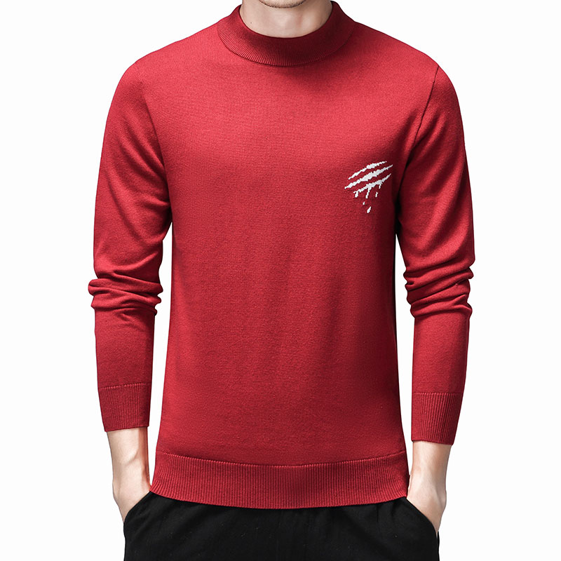 Warm Mens Sweaters O-Neck Cotton Sweater Men Brand Clothing Knitted Pullover Men Long Sleeve Pull Homme Embroidery Coat Oversize