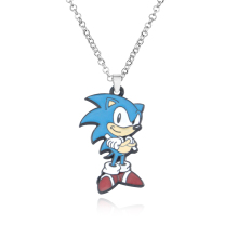 New Lot Popular Cartoon Sonic The Hedgehog Necklace Key Chain Alloy Metal Charm Pendants Jewelry For Man and Women Fashion Gifts