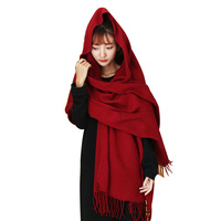 Burgundy Cashmere Scarf for Women 2019 New Women's Ponchos And Capes Red Scarf Shawls Winter Warm Stole Wrap Pashmina Cachecol