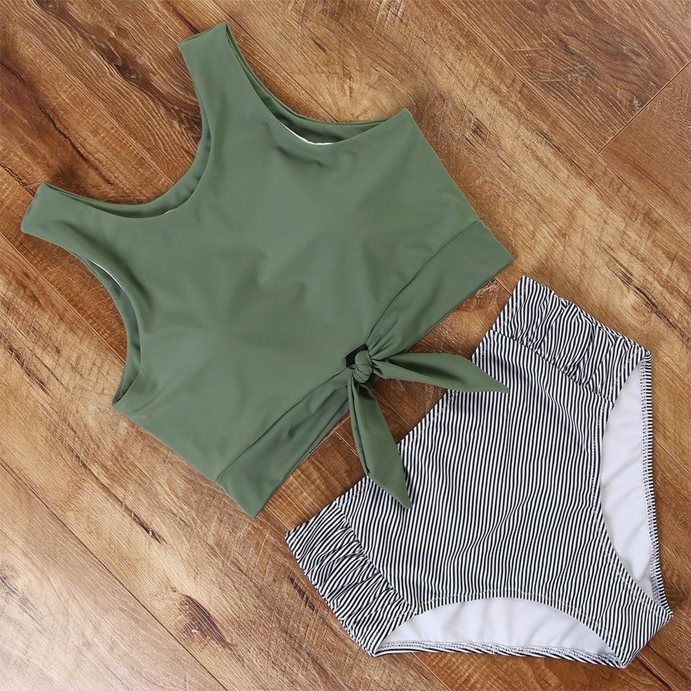 High Waist Bikini Swimwear Women Floral Swimsuit Leopard Women High Neck Bikini Push Up Plus Size Swimwear Striped Bathing Suit 4