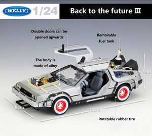 Image 4 - Welly 1:24 Diecast Alloy Model Car DMC 12 delorean back to the future Time Machine Metal Toy Car For Kid Toy Gift Collection
