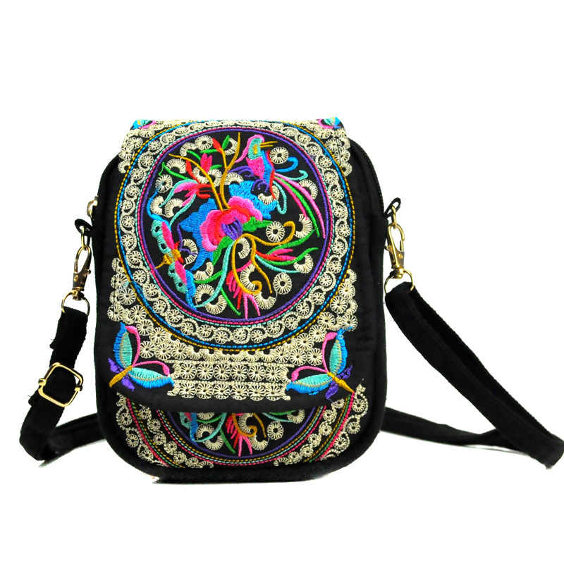 7 inch for iPhone 7 8 6 x Plus phone bag Embroidered vintage bags For Samsung Galaxy S8 S9 S10 Plus S10e Lite phone clutch bags