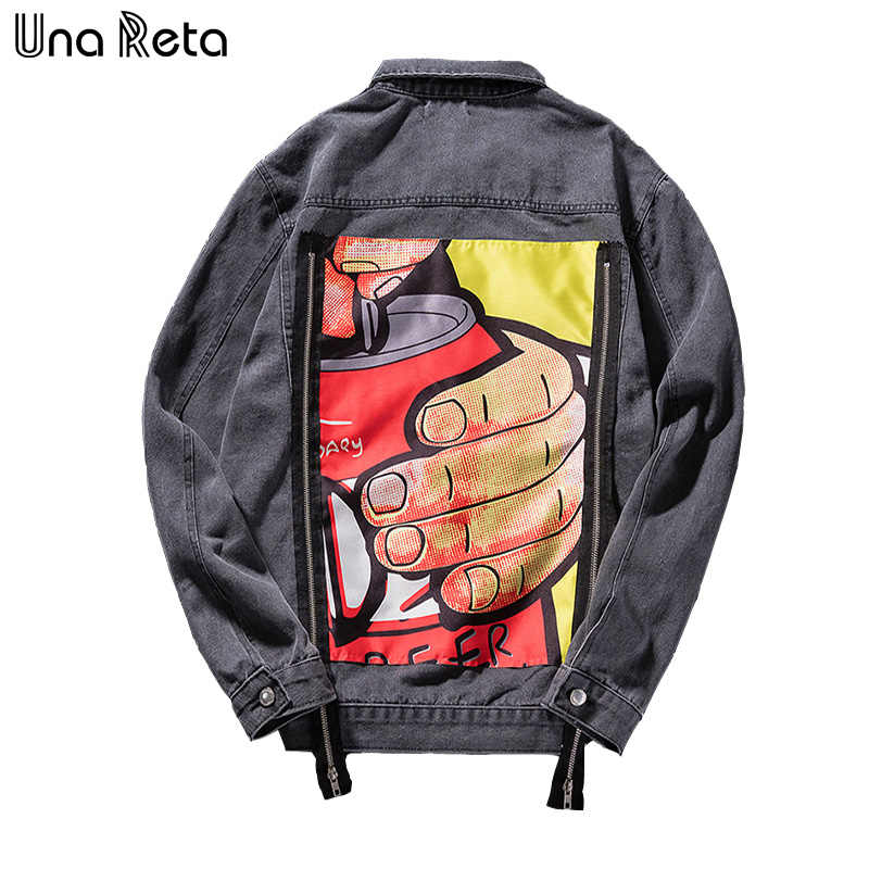 Una Reta Denim Jacket For Men Streetwear Print Jean Jacket Men Autumn New Print Plus Size Casual Long Sleeve Hip Hop Jacket Coat