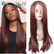 Synthetic Lace Front Wig For Women Medium Brown Color PerisModa Long Silky Straight Hair Wig Natural Hairline Synthetic Lace Wig adiors short silky straight inclined bang synthetic wig