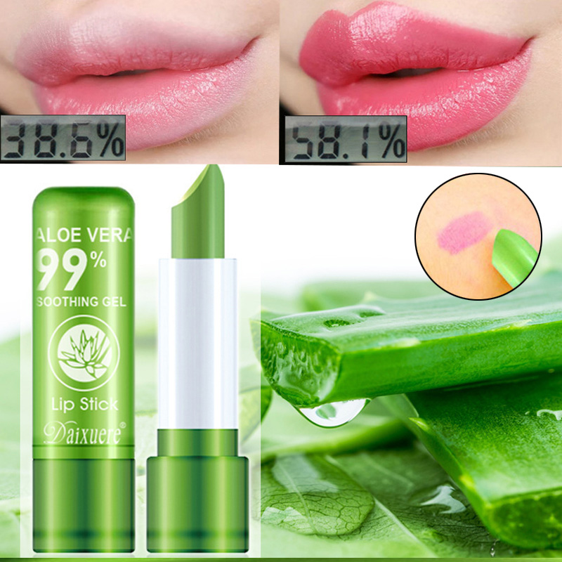 Aloe Vera Color Changing Lipstick Is Not Easy To Fade Lipstick Moisturizing Moisturizing Lasting Color and Moisturizing Lip Balm