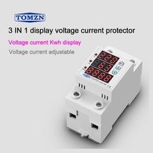 63A 230 v 3IN1 表示 din レールガナイザーオーバーアジャスタブルとアンダー電圧保護デバイスプロテクターリレー過電流保護
