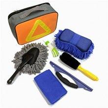 7 개/대 자동차 다기능 청소 도구 키트 휠 브러시 먼지 먼지 브러쉬 자세히 브러쉬 와이퍼 타월 경고 표지판 가방