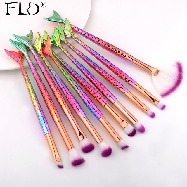 FLD Professional Mermaid Makeup Brushes Set Eye Set Kits Shadow Eyeliner High Quality Makeup Brush Tools Eyebrow Tools Kit