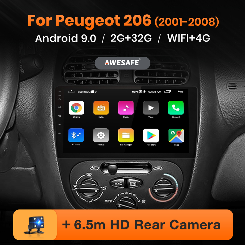 AWESAFE para Peugeot 206, 2001, 2002, 2003, 2004-2008 auto Radio Multimedia reproductor de video GPS No 2din 2 din Android 10 2GB + 32GB