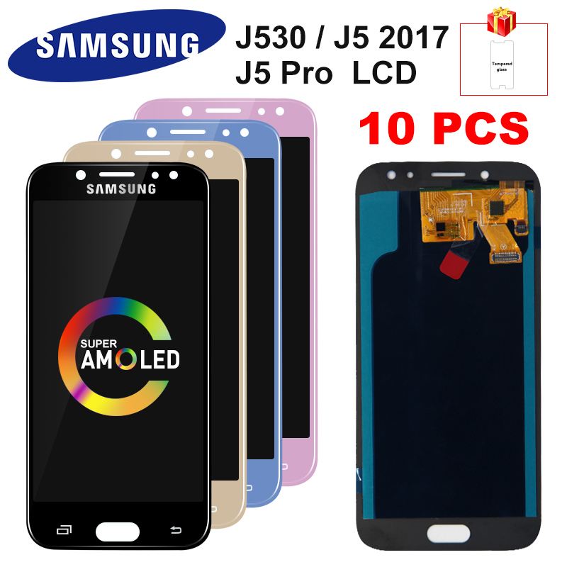 10 PCS For <font><b>Samsung</b></font> <font><b>Galaxy</b></font> AMOLED LCD <font><b>J5</b></font> <font><b>2017</b></font> J530 SM-J530F J530M LCD <font><b>Display</b></font> Touch Screen Digitizer Assembly For <font><b>J5</b></font> Pro <font><b>Display</b></font> image