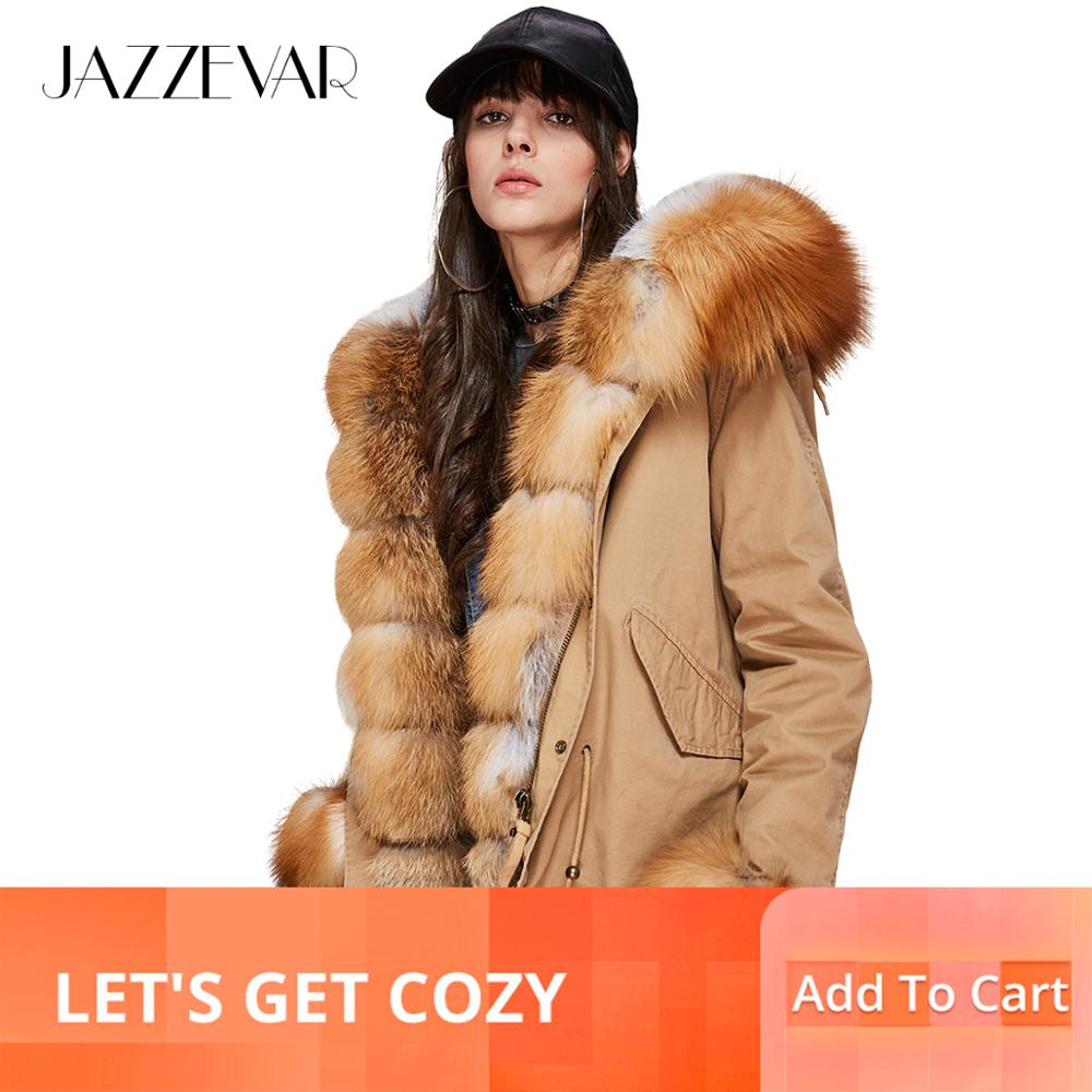 Jazzevar 2019 새로운 패션 여성의 고급스러운 대형 리얼 폭스 모피 칼라 커프 후드 코트 짧은 파커 outwear winter jacket-에서파카부터 여성 의류 의  그룹 1
