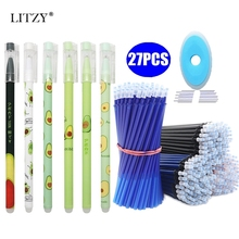 27Pcs/Lot Avocado Erasable Gel Pen Blue Ink 0.5mm Washable Handle Kawaii Stationery Pens Refill Rods for School Writing Tools