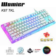Womier 87 anahtar K87 çalışırken değiştirilebilir RGB oyun mekanik klavye 80% saydam cam taban Gateron anahtarı ile kristal taban