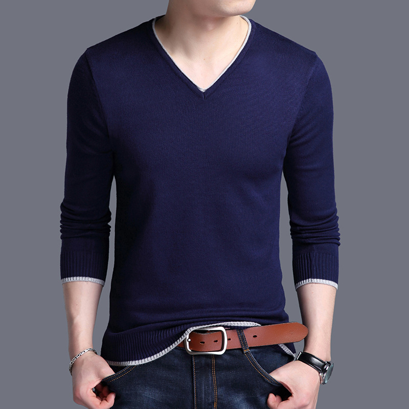 YUSHU Men's Autumn Wool Long Sleeve Knitted Sweater Tops Menswear Pullover Slim Fit V-neck Sweater Men Clothes Pull Homme