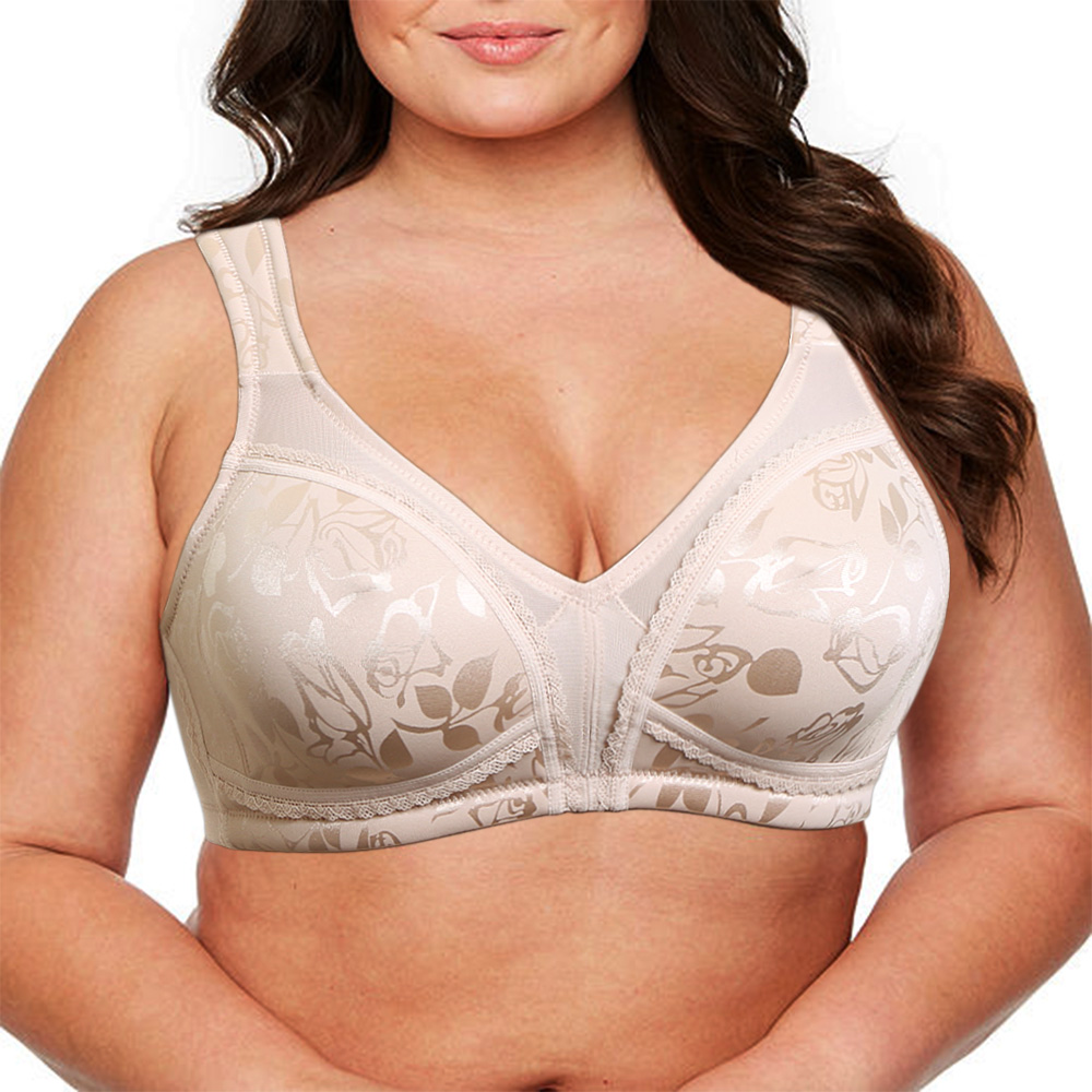 New arrival 34 36 38 40 42 44 46 B C D E F G Plus Size Bras Full Cups Unpadded Everyday Bra Minimizer For Women Floral Print