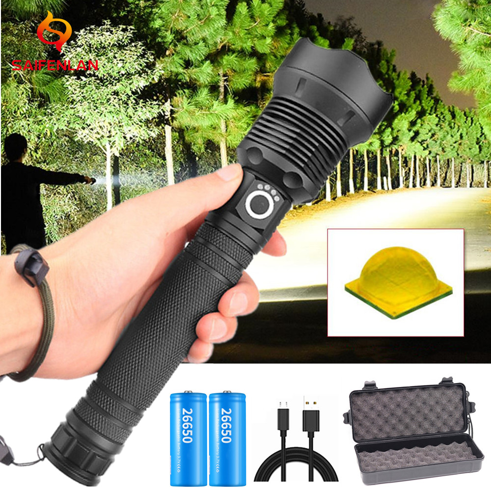 LED Flashlight 90000 Lumens Xhp70.2 Powerful Flashlight 18650 26650 USB Torch Xhp70 Lantern Tactical Hunting Lamp Hand Light