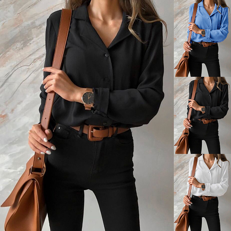 European and American fashion trend new large size women's clothing Blouses Suit Collar Shirt Long Sexy Sleeve Top