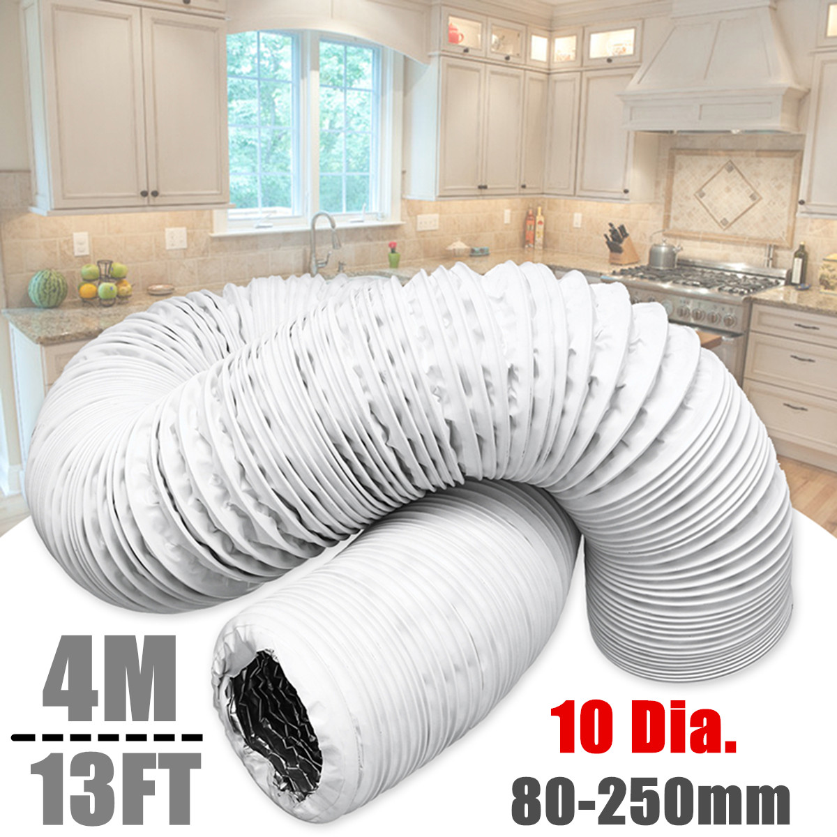4M 80-250mm Diameter Aluminum Foil Duct Hose Pipes Fittings Kitchen Exhaust Inline Fan Vent Hoses Ventilation Air Vent Tube Part