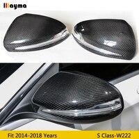 Carbon Fiber ersetzen Spiegel abdeckung Für Benz S klasse S300 S400 S500 2014-2018 jahr W222 AMG Styling Auto hinten spiegel kappe 1 paar LHD