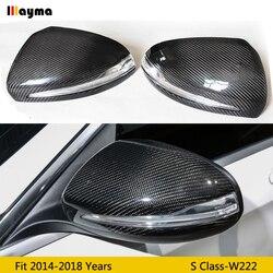 Wymiana lustrzane osłony z włókna węglowego dla Benz S klasa S300 S400 S500 2014-2018 rok W222 AMG stylizacja samochodów lusterko wsteczne cap 1 para LHD